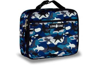 (Standard, Shark Shadows (Camo)) - LONECONE Kids' Insulated Fabric Lunch Box - Fun Patterns for Boys and Girls, Shark Shadows (Camo), Standard