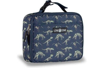 (Standard, No Bones About It) - LONECONE Kids' Insulated Fabric Lunch Box - Fun Patterns for Boys and Girls, No Bones About It, Standard