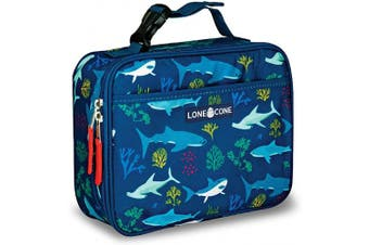(X-Large, Shark Bite) - LONECONE Kids' Insulated Fabric Lunch Box - Fun Patterns for Boys and Girls, Shark Attack, X-Large