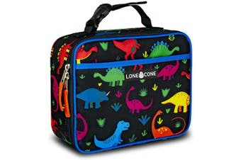 (Standard, Fossil Fuel) - LONECONE Kids' Insulated Fabric Lunch Box - Fun Patterns for Boys and Girls, Fossil Friends, Standard