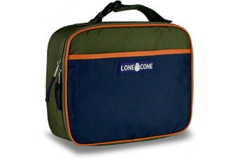 (Standard, Army/Navy) - LONECONE Kids' Insulated Fabric Lunch Box - Fun Patterns for Boys and Girls, Army/Navy, Standard