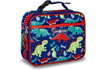 (X-Large, Snack-O-Saurus) - LONECONE Kids' Insulated Fabric Lunch Box - Fun Patterns for Boys and Girls, Snack-O-Saurus, X-Large