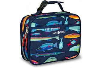 (Standard, Sea Food) - LONECONE Kids' Insulated Fabric Lunch Box - Fun Patterns for Boys and Girls, Deep Sea, Standard