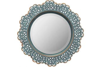 (Turquoise) - Stonebriar Decorative Round Metal Lace Wall Mirror, 32cm , Turquoise