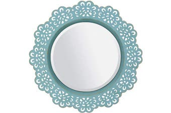 (Blue) - Stonebriar Blue Round Decorative Metal Lace Hanging Wall Mirror with Attached Hanger, Brass Highlights, 32cm