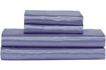 (California King, Lilac) - Mk Collection 4pc Soft Silky Satin Solid Colour Deep Pocket Sheet Set (Lilac, California King)
