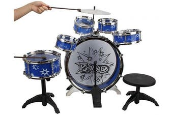 (Blue) - 12 Piece Drum Kit for Kids, 6 Drums, Cymbal, Chair, Kick Pedal, 2 Drumsticks, Stool, Musical Instrument Includes Set Drums, Toy for Your Kids
