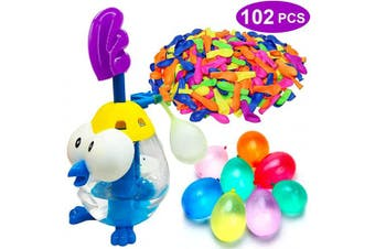 AMENON Water Balloons for Kids with Filler Pump, Colourful Air Balloons, Summer Splash Water Balloon Toys, Rapid-Fill Air and Water for Kids Boys Girls Fun Water Party Games (102 Balloons)