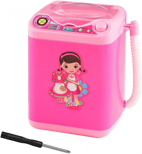 Makeup Sponge Washing Machine, Deep Clean Beauty Blender Mini Washing Machine Toy, Electronic Washing Machine for Makeup Sponge, Powder Puffs (Black) (Pink) Pink