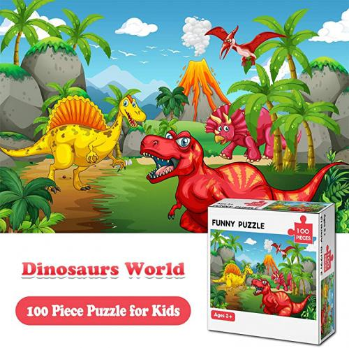 Jigsaw Puzzles for Kids Ages 3-8 The Age of Dinosaur 100 Piece Puzzles for Toddler Children Learning Educational Puzzles Toys for Boys and Girls