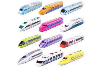 (Bullet Train Set) - CORPER TOYS Bullet Train Pull Back Toy High Speed City Train Modern Locomotives for Kids Toddle Boys - Bundle of 12