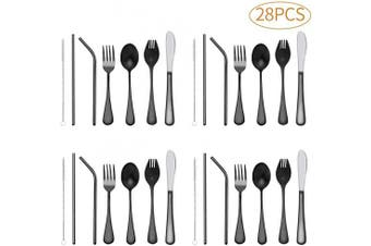 Children Silverware Black, 28 Piece kids Stainless Steel Flatware Set,Heavy-duty Reusable Utensil Set, Fork, Knife, Spoons, Straws and Cleaning Brush, Durable Travelling Child Cutlery Set(Black)