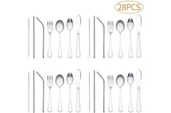 Children Silverware, 28 Piece kids Stainless Steel Flatware Set,Heavy-duty Reusable Utensil Set, Fork, Knife, Spoons, Straws and Cleaning Brush, Durable Travelling Child Cutlery Set