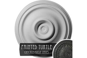 (Hand-Painted Painted Turtle Crackle) - Ekena Millwork CM14TRPTC Traditional Ceiling Medallion, 37cm OD x 4.4cm P (Fits Canopies up to 10cm ), Hand-Painted Painted Turtle Crackle