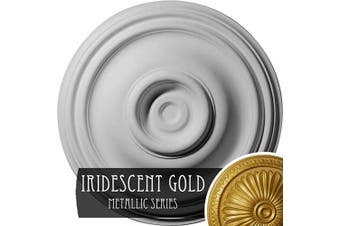 (Hand-Painted Iridescent Gold) - Ekena Millwork CM14TRIGS Traditional Ceiling Medallion, 37cm OD x 4.4cm P (Fits Canopies up to 10cm ), Hand-Painted Iridescent Gold