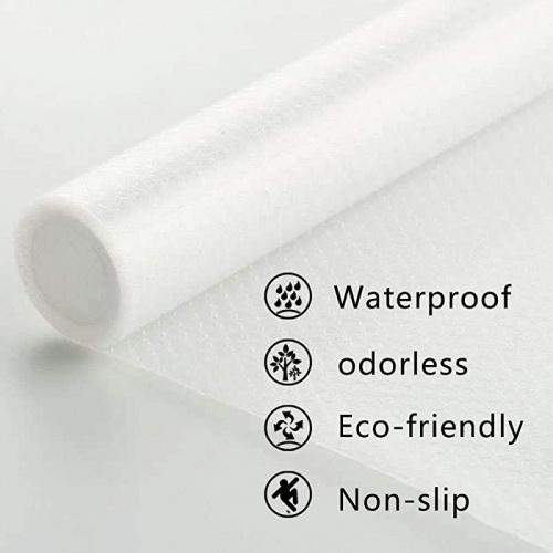 Clear, 3 Rolls 45x150cm Shelf Liner Non-Slip Adhesive Waterproof EVA Cupboard Cabinet Pad Drawer Mat Fridge Liner Roll Anti-Fouling Anti-Moisture Cushion for Home Office