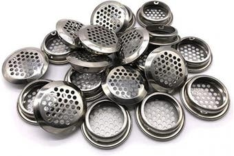 (35mm, Silver) - 20Pcs Air Vents 35mm Circular Soffit Vent Stainless Steel Round Vent Mesh Hole Louvre for Kitchen Bathroom Cabinet Wardrobe