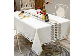 (140cm  x 300cm , Ivory Color) - TEWENE Tablecloth, Farmhouse Table Cloth Cotton Linen Tablecloths Stitching Table Cloths Wrinkle Free Rectangle Tablecloth for Kitchen, Dining, Outdoor Table(140cm x 300cm /10-12 Seats/Ivory Colour)