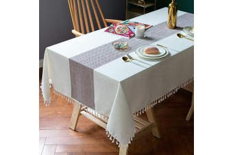 (140cm  x 220cm , Dark Brown) - TEWENE Table Cloth, Cotton Linen Tablecloths Wrinkle Free Tablecloth Rectangle Table Cloths Tassle Table Cloths for Rectangle Tables, Kitchen, Dining, Outdoor Table(140cm x 220cm /6-8 Seats/Dark Brown)