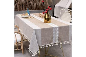 (140cm  x 220cm , Brown) - TEWENE Table Cloth, Rectangle Table Cloths Wrinkle Free Tablecloth Cotton Linen Tablecloths Stitching Tassle Tablecloth Brown for Kitchen, Dining, Outdoor Table(140cm x 220cm /6-8 Seats/Brown)