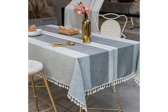 (140cm  x 220cm , Grey) - TEWENE Table Cloth, Rectangle Table Cloths Wrinkle Free Tablecloth Cotton Linen Tablecloths Stitching Tassle Tablecloth Grey Table Cloth for Kitchen, Dining, Outdoor Table(140cm x 220cm /6-8 Seats/Grey)