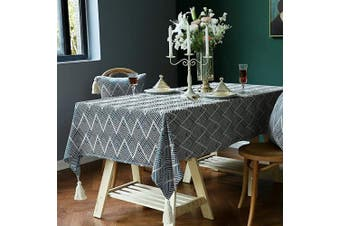 (140cm  x 220cm , Wave-blue) - TEWENE Tablecloth, Premium Wave Patten Modern Table Cloth Cotton Linen Tablecloths Stitching Tassel Table Cloths Rectangle Tablecloth for Kitchen, Dining, Outdoor Table(140cm x 220cm /6-8 Seats/Wave Blue)