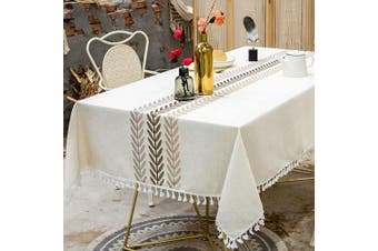(140cm  x 220cm , Ivory Color) - TEWENE Tablecloth, Farmhouse Table Cloth Cotton Linen Tablecloths Stitching Table Cloths Wrinkle Free Rectangle Tablecloth for Kitchen, Dining, Outdoor Table(140cm x 220cm /6-8 Seats/Ivory Colour)