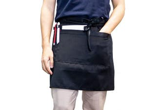 (Black) - Carrotez Waist Serving Apron, Chef Works Unisex Adjustable Half Bistro Apron with 2 Pockets Waitress Apron, Waist Aprons and Utensil and Tool Holder, Apron for Men Women, Chef, Waiters (Black)