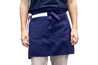 (Navy) - Carrotez Waist Serving Apron, Chef Works Unisex Adjustable Half Bistro Apron with 2 Pockets Waitress Apron, Waist Aprons and Utensil and Tool Holder, Apron for Men Women, Chef, Waiters (Navy)