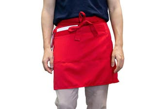 (Red) - Carrotez Waist Serving Apron, Chef Works Unisex Adjustable Half Bistro Apron with 2 Pockets Waitress Apron, Waist Aprons and Utensil and Tool Holder, Apron for Men Women, Chef, Waiters (Red)