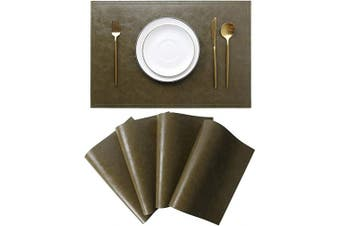 (Set of 4, G Loden) - Jovono Waterproof PU Placemats, Faux Leather Dinging Table Mat, Set of 4, Easy to Wipe Off Scrub Vinyl Mat, Heat & Stain Resistant for Office Conference Table, Home Decor