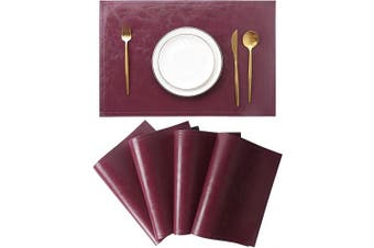 (Set of 4, G Bordeaux) - Jovono Waterproof PU Placemats, Faux Leather Dinging Table Mat, Set of 4, Easy to Wipe Off Scrub Vinyl Mat, Heat & Stain Resistant for Office Conference Table, Home Decor