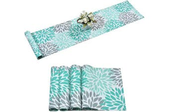 Alishomtll Dahlia Pinnata Table Runner with 4 Placemats Green Grey Print Flower Table Runners Set Top Decor for Dinner Parties, Catering Events, Wedding, Indoor and Outdoor Parties