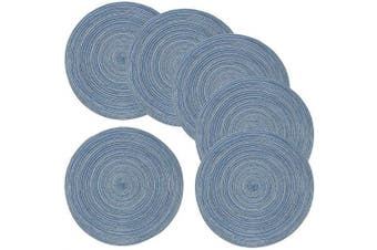 Amidaky Round Woven Placemats Thermal Insulation Dining Table Round Cotton Placemats Set of 6 Blue 36cm Washable