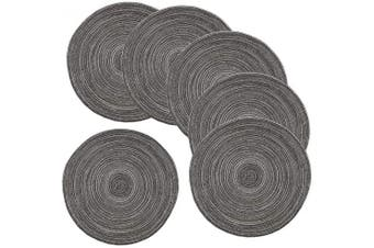 Amidaky Round Woven Placemats Thermal Insulation Dining Table Round Cotton Placemats Set of 6 Grey 36cm Washable