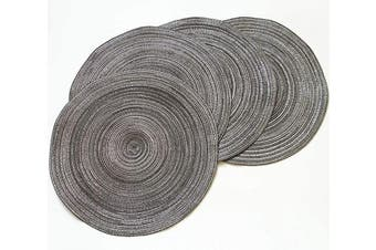 Amidaky Round Woven Placemats Thermal Insulation Dining Table Round Cotton Placemats Set of 4 Grey 36cm Washable