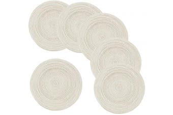 Amidaky Round Woven Placemats Thermal Insulation Dining Table Round Round Woven Placemats Thermal Insulation Dining Table Round Cotton Placemats Set of 6 Beige 36cm Washable