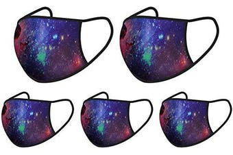 (5PCS-Starry sky) - Reusable Cotton Fabric,Fashion Protective, Unisex Black Dust Cotton, Washable(5Pcs-Starry sky)