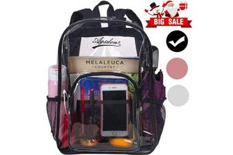 (Black01) - Clear Backpack, Heavy Duty See Through Backpack, 41cm Transparent Large Backpack for College - Black