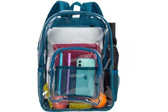 (Blue 2) - Clear Backpack, Heavy Duty See Through Backpack, 41cm Transparent Large Backpack for College - Blue