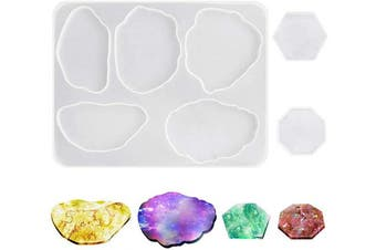 Silicone Coaster Moulds for Resin Casting, AIFUDA 3 Pcs Agate Epoxy Coaster Moulds for Cups Mat DIY Crafting, Home Decoration and Jewellery Holders