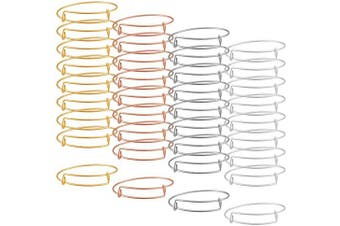 (36) - Alphatool 36 Pcs 4 Colours Expandable Bangle Bracelet- Adjustable Stainless Steel Wire Blank Charm Bangle Bracelet for Womens DIY Jewellery Making (White K, Rose Gold, Silver and Gold)