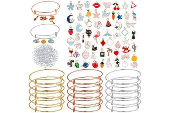 (15) - 275pcs Expandable Bangle Charms Bracelet Set- 15pcs Adjustable Stainless Steel Wire Blank Wristband in 3 Colours+ 60pcs Golden Assorted Charms Pendants+ 200pcs Open Ring for DIY Craft Jewellery Making