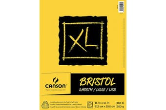 "(11"" x 14"" Fold Over) - Canson XL Series Bristol Pad, Heavyweight Paper for Ink, Marker or Pencil, Smooth Finish, Fold Over, 45kg, 28cm x 36cm , Bright White, 25 Sheets"