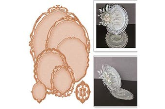 7pcs/Set Metal Die Cuts,Wedding Invitation Oval Lace Flower Metal Cutting Dies Stencils for DIY Scrapbooking Photo Album Decorative Embossing Paper Making Making Mould Template