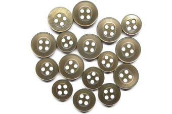 (Standard, Medium Brown) - ButtonMode Standard Shirt Buttons 16pc Set Includes 8 Shirt Front Buttons x 11mm (7/16 Inch), 4 Shirt Sleeves x 10mm (3/8 Inch) and 4 Shirt Collar Buttons x 9mm (5/16 Inch), Medium Brown, 16-Buttons