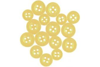 (Standard, Yellow) - ButtonMode Standard Shirt Buttons 16pc Set Includes 8 Shirt Front Buttons x 11mm (7/16 Inch), 4 Shirt Sleeves x 10mm (3/8 Inch) and 4 Shirt Collar Buttons x 9mm (5/16 Inch), Yellow, 16-Buttons