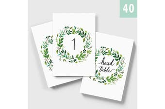MINIMALMART Wedding Table Numbers (Colour Options Available), 4x6 Modern Calligraphy Foil Design, Double Sided, Numbers 1-40