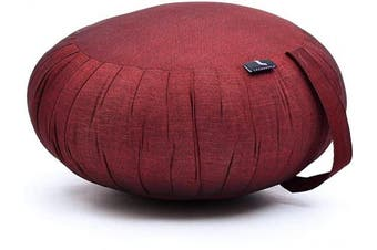 (CL24 - Red) - Leewadee Meditation Cushion Round Zafu Pillow For Floor Seating Eco-Friendly Organic and Natural, 40x20 cm, Kapok
