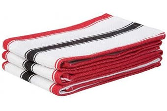 (46cm  X 70cm , Double Stripe - Red and Black) - Black Striped Towels - Cotton Dish Towels - Kitchen Hand Towels and Dish Cloths - Cotton Tea Towels Kitchen - Cotton Towels - Red Striped Dish Towels Set of 3 (18 X 28, Double Stripe - Red & Black)